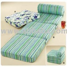 Twin Multi Stripes Trifold Foam Bed 6 x 39 x 75 Folding Mattress 1.8 lb Density