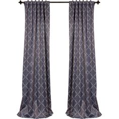 Trellis Rod Pocket Blackout Curtain Panel in Gray and Silver  at Joss and Main