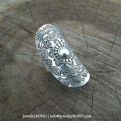 BOHO, Gypsy ring, Hippie ring, Bohemian style, Statement ring R026 JewelryBOHO-Handmade sterling silver BOHO Tribal ring