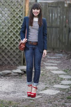 Striped sweater + blazer + denim + red shoes. From tick tock vintage. #outfit #blazer #stripe
