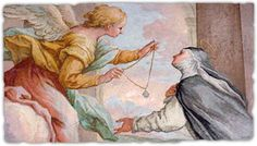 St. Agnes of Montepulciano -- love this painting of her and an angel.