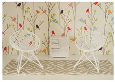 So this is a dollhouse, but I LOVE the wall for a baby's room.  love love love.  Thanks for the inspiration YHL!   http://www.younghouselove.com/2012/08/multiplying-egg-chairs/