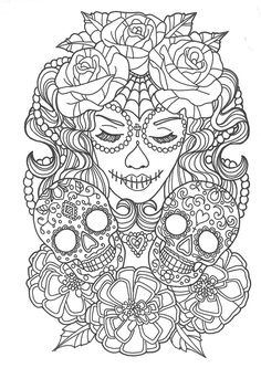 beautiful sugar skull colouring page