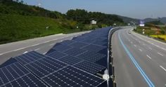 Week 12 - This is a PV(Photovoltaic) covered bike lane along the highway in South Korea. In order to install photovoltaic panels, we need vacant space. However, if we set the panels on infrastructures such as bike lane and highway, we can save space, and these panels can be used as a shading.