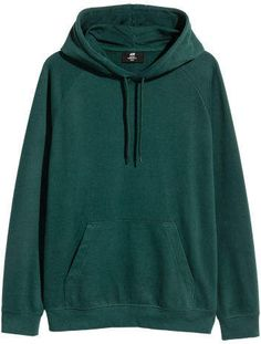 Hoodie with Raglan Sleeves - Dark green - Men Modern Outfits, Edgy Outfits, Fashion Outfits, Oversized Graphic Tee, Stylish Hoodies, Cosplay Outfits, Mens Sweatshirts, Aesthetic Clothes, Green Hoodies