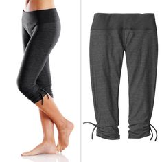Moving Comfort Urban Gym Capri :  ($60)  The pants are flattering and comfy. The wide waistband never binds during a workout and hides a stash pocket big enough for your ID and a key. The ties at the lower leg add some fashion flair to basic gym attire while also making the length of the capris adjust...