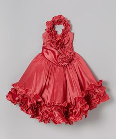 Take a look at the Coral Rosette Ruffle Halter Dress - Toddler & Girls on #zulily today!