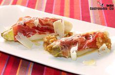Endibias braseadas con jamón ibérico Cocina Light, Starters, Bacon, Veggies, Appetizers, Menu, Yummy Food, Healthy Recipes, Breakfast