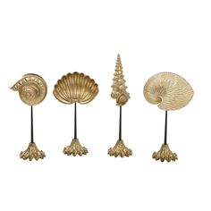 Set of Four Golden Finished Cast Resin Shells on Brass Stands