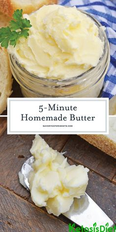 Homemade Butter in 5 Minutes! - How to Make Butter - Homemade Butter Recipe is ready in 5 minutes using your blender, heavy cream, ice water and salt. You'll wonder why you never made butter at home before! Pampered Chef Recipes, Cooking Recipes, Milk Recipes, Vegan Recipes, Flavored Butter, Salted Butter, Homemade Cheese, Homemade Food, Easy Homemade Butter Recipe