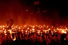 """Mix Scots and Vikings and you get a seriously big, boozy fire…    Up Helly Aa refers to the annual fire festivals held in Shetland and Scotland to mark the end of the yule season. The festivals involve a procession of up to a thousand """"guizers"""" marching in squads, who make their way through the town or village in a variety of themed costumes"""