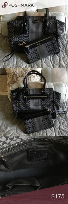 Coach Purse/Wallet Combo Coach Legacy Signature Stripe Candace Carry All purse with matching Wallet. In excellent condition!  Only carried a handful of times. Black and grey in color and plenty of pockets and compartments to carry everything a girl needs. Coach Bags