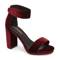 Women's Jeffrey Campbell Lindsay Ankle Strap Sandal ($135) ❤ liked on Polyvore featuring shoes, sandals, wine velvet, jeffrey campbell, ankle strap sandals, velvet sandals, block heel sandals and ankle wrap shoes