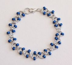 Metallic Blue Beaded Silver Cable Chainmaille by PJsPrettys
