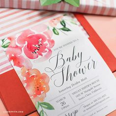 Print your own gorgeous watercolor floral baby shower invitation with this downloadable design from handcrafted lifestyle expert Lia Griffith.
