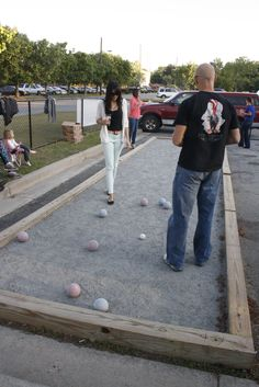 Bocce ball action in the gaming area.