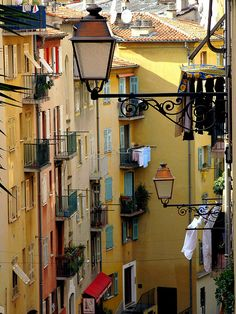 Alley Lights, French Riviera #streetlamps, #streetlights, #lights