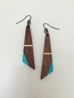 Wood Earrings Painted Wood Earrings Asymmetric by TheWoodenHome