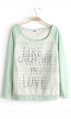 Western style lace with English words stitching T shirt light green