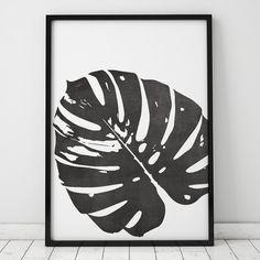 Black and White Chalkboard Monstera Leaf INSTANT DOWNLOAD
