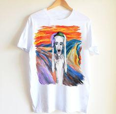Joker tshirt handpainted unique  man woman shirt by Dariacreative