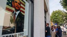 People wait outside a campaign field office in Raleigh, N.C., Thursday, Aug. 23, 2012 to receive credentials for President Barack Obama's acceptance speech during Charlotte's Democratic Convention.  - (AP Photo/Gerry Broome)