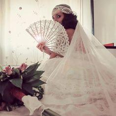 novia vintage vestidos novia abanico