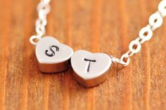 Double Heart Necklace  handstamped necklace initial by MegusAttic, 32.00