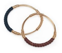 leather wrapped signature bangle (14K) comes in navy and brown