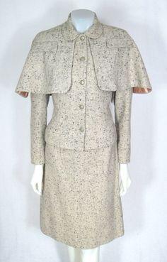 VINTAGE 1950s Tweed Capelet Skirt Suit