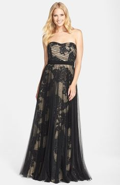 Pamella, Pamella Roland Embroidered Lace Strapless Gown available at #Nordstrom