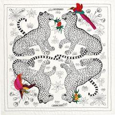 Scarf 120 Hermès   Les Leopards Oiseaux Fleuris
