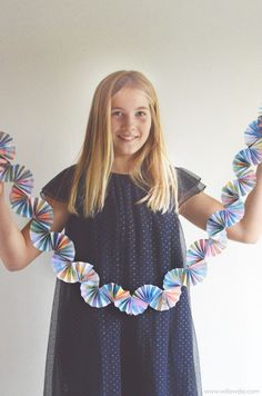 Make Paper Fan Garland | willowday | use your kids art to make these!