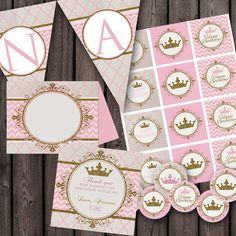 Princess baby shower, or princess birthday party package, printable party supplies, light pink and gold, banner, cupcake toppers, food labels, and princess favor tags