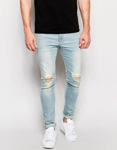 ASOS Super Skinny Jeans With Knee Abrasions In Bleach Blue