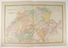 Large Antique Map Switzerland 1881 Rand McNally Switzerland Map, Vacation Gift for Her, 1st Anniversary Gift for Couple, Switzerland Gift available from OldMapsandPrints.Etsy.com #Switzerland #1881RandMcNallySwitzerlandMap #SwissAlpsVacationGift