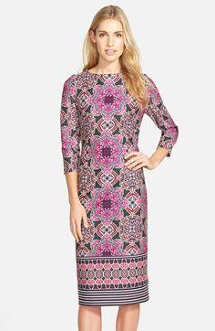 Eliza J Print Ponte Midi Sheath Dress available at #Nordstrom