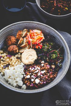 What's For Lunch Honey?: Middle Eastern Style Buddha Bowl: Giant Couscous, Baked Falafel, Hummus, Spiced Lentils, Pickled Vegetables and Kalettes My Favorite Food, Favorite Recipes, Baked Falafel, Whats For Lunch, Baked Cauliflower, Buddha Bowl, Middle Eastern Recipes, Couscous, Lentils