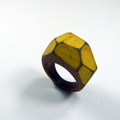 Yellow wooden Gem Ring £15.00