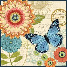 Mariposa azul Flores anaranjadas by Jennifer Brinley