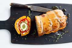 A delicious vegetarian twist on the meat-filled turducken, this vegeducken is a Christmas show-stopper. With layers of pumpkin, capsicum, zucchini and asparagus, the vegeducken is filled with a crispy hazelnut stuffing and baked to perfection.