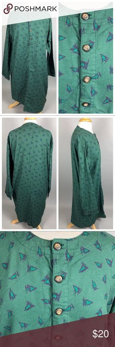 "Vintage 90s GAP Oversized Christmas Tree Nightgown Vintage 1990s GAP Green Flannel Christmas Tree Nightgown Sleep Shirt Oversized  100% cotton. Unlined.  Labeled a size Small. This has an oversized/baggy fit. Please view measurements carefully to ensure a proper fit.  Bust: 46"" Hip: 47"" Length from shoulder to bottom hem: 40"" Sleeve: 33.5"" from center back of neck to end of sleeve  Good preowned condition. Some typical flannel wash wear. No holes or stains. Vintage Intimates & Sleepwear…"