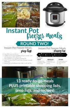 Make 13 delicious and family-friendly Instant Pot freezer meals for less than $125! Get printable shopping lists, prepping checklists, and recipes!