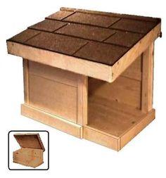 outdoor cedar FEEDING SHELTER house for feral cat kitten rabbit turtle pet food on eBay!
