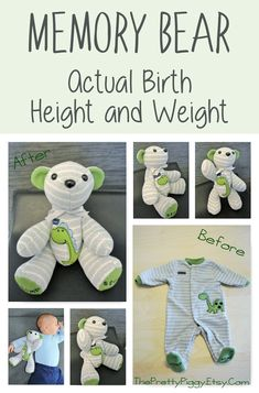 Such a cute idea! This adorable teddy bear is made from your child's clothing. Not only does this bear feature your little one's cute outfit, it is also the ACTUAL height and weight of your baby at birth! They grow out of them so quickly, but now you can always remember how small they were! This clothing bear makes a perfect first birthday gift, baby shower gift, newborn gift, or keepsake bear. #babyshowergift #memorybear #keepsake #ad
