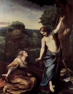 Correggio.  Noli me tangere. Um 1518, Öl auf Holz, 130 × 103cm.Madrid, Museo del Prado.Italien.Renaissance.  KO 00185