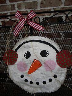 Snowman Christmas Burlap Door Hanger