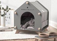 Small Medium Dog Breeds, Animal Gato, Cat House Diy, Cat Tent, Dog Furniture, Wooden Furniture, Pet Home, Animal House, Dog Houses