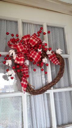 Country Heart Wreath, Christmas Wreath, Holiday Wreath Farmhouse Style Wreath by GoodWreathsByKathy on Etsy Valentine Day Wreaths, Valentines Day Decorations, Valentine Day Crafts, Holiday Wreaths, Holiday Decor, Printable Valentine, Homemade Valentines, Valentine Box, Valentine Ideas