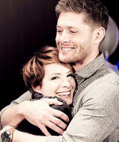 I'd smile like that too if Jensen hugged me